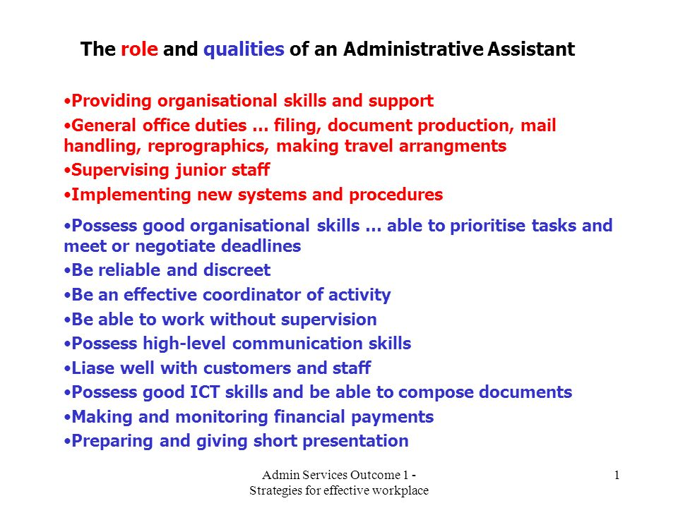 The role and qualities of an Administrative Assistant - ppt video - administrative assistant