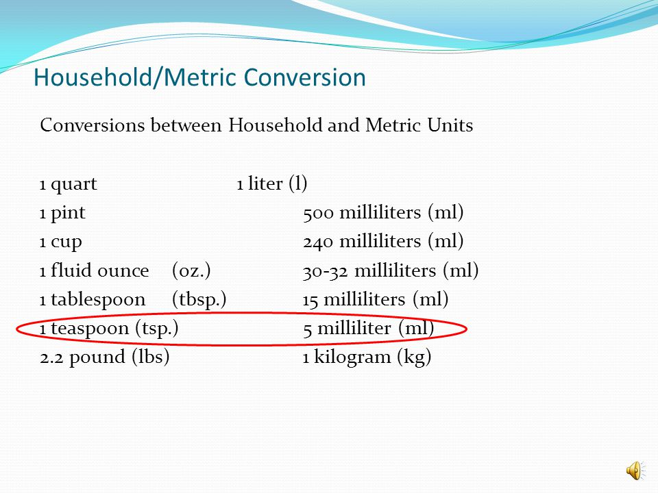 Household/Metric Conversion - ppt video online download