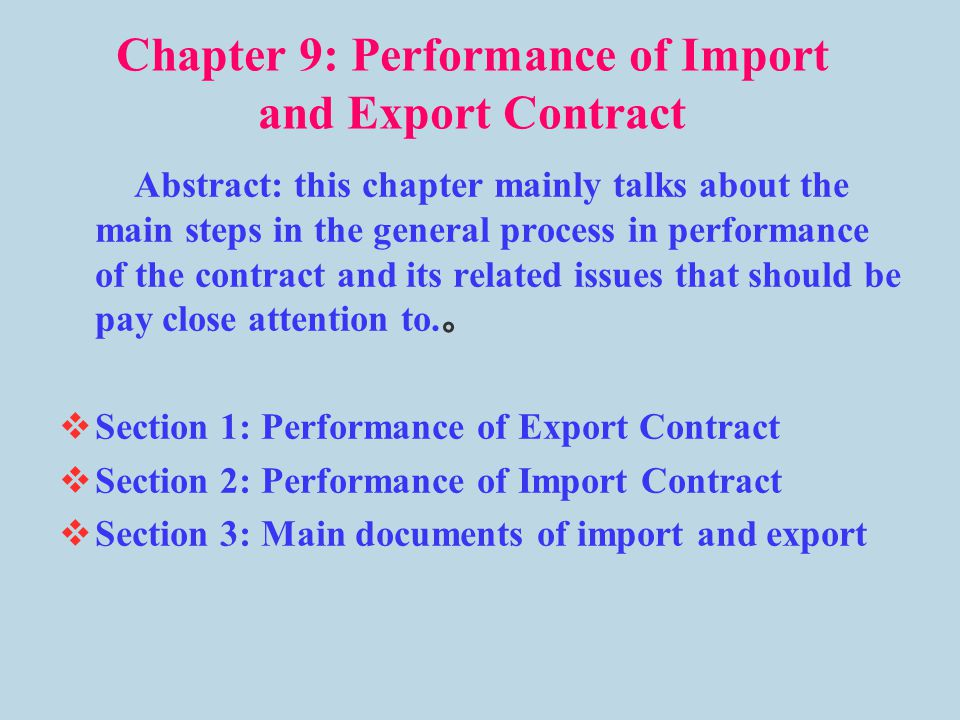 Chapter 9 Performance of Import and Export Contract - ppt video