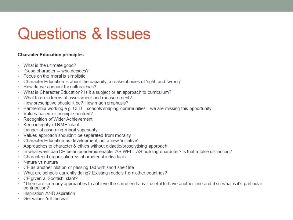 Questions of character - ppt download