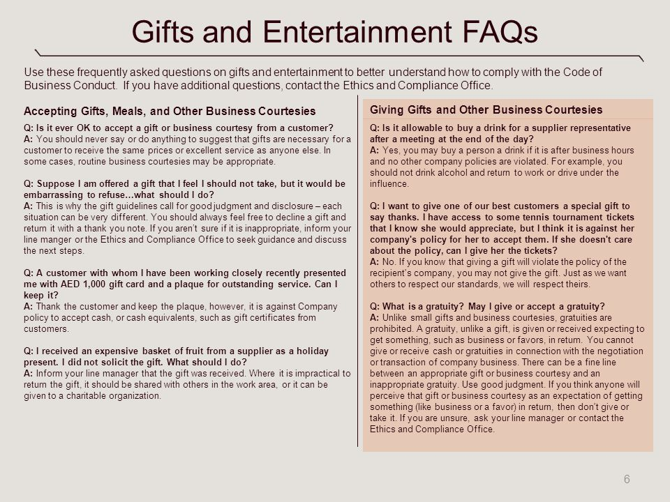 Gifts and Entertainment A Toolkit for Managers - ppt video online