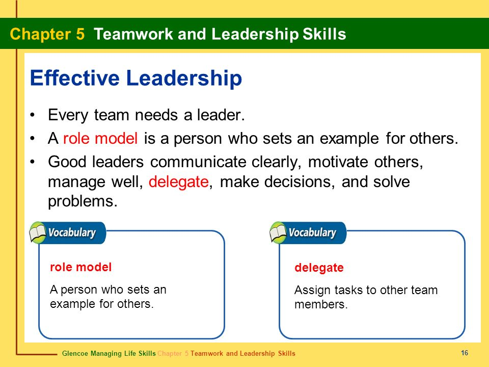 5 Chapter 5 Section 51 Teamwork Skills Section 52 Leadership