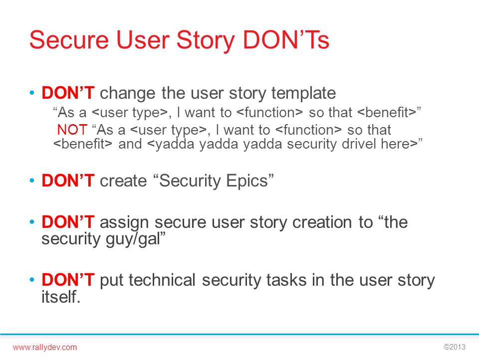 Reduce Security Risk in Your Development - ppt video online download - user story template