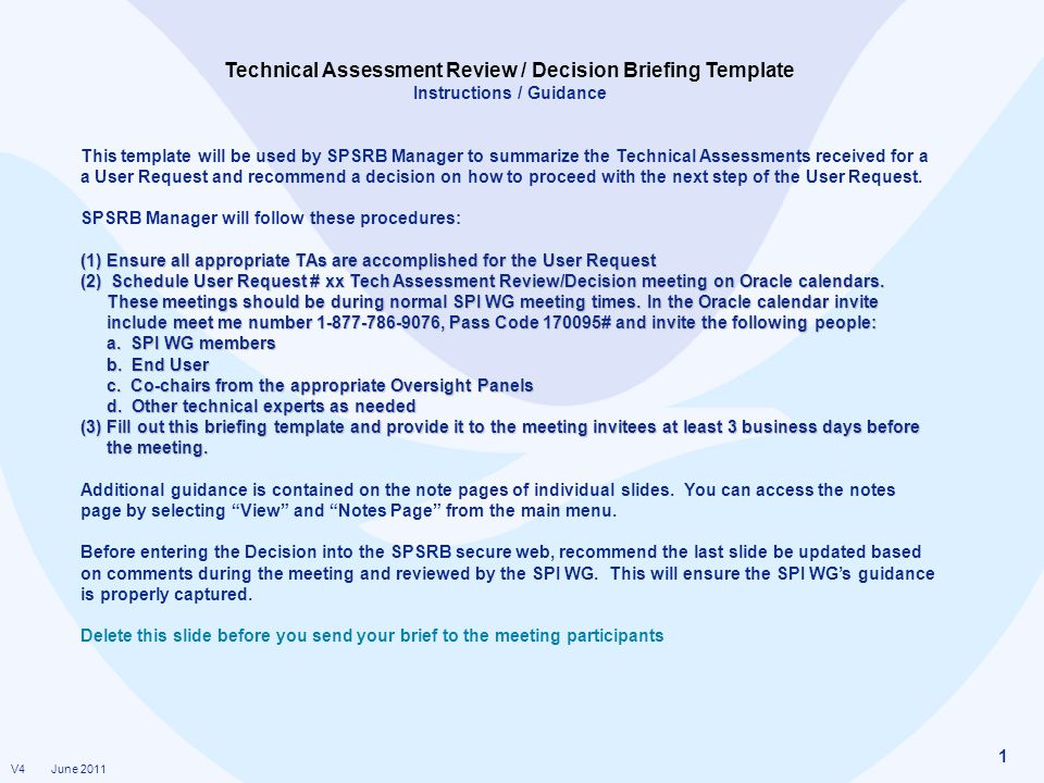 Technical Assessment Review / Decision Briefing Template - ppt video - technical assessment template