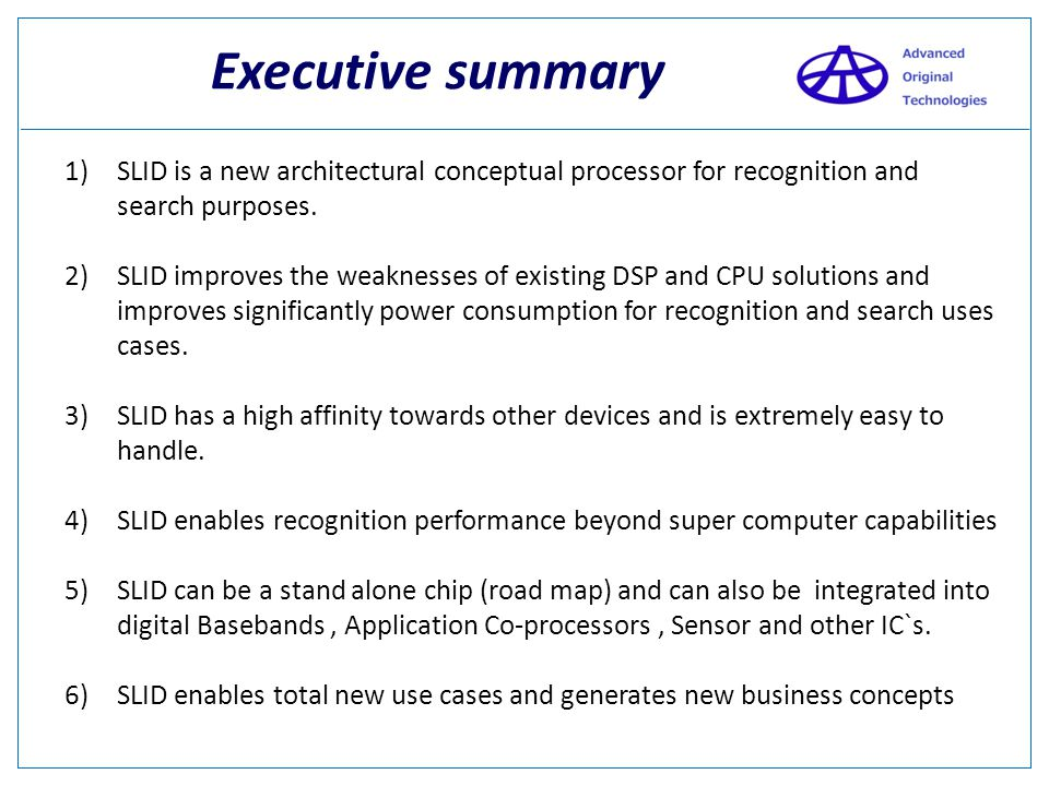 Overview Company overview Executive summary SLID roadmap - ppt video