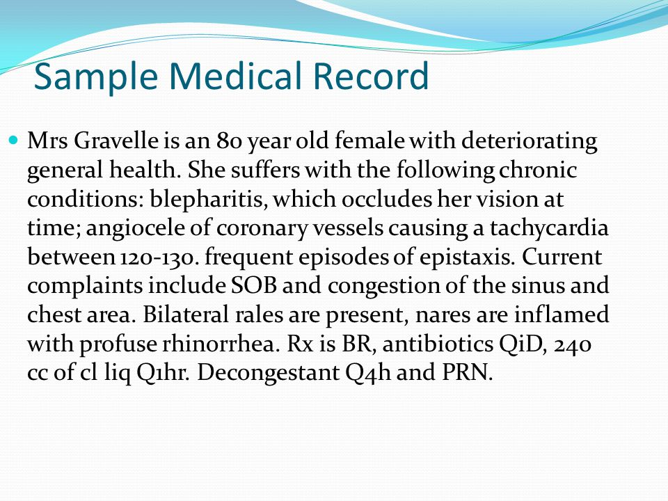 Medical Terminology - ppt video online download - sample health record