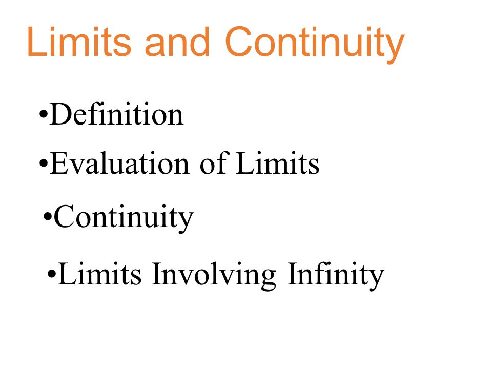 Limits and Continuity Definition Evaluation of Limits Continuity