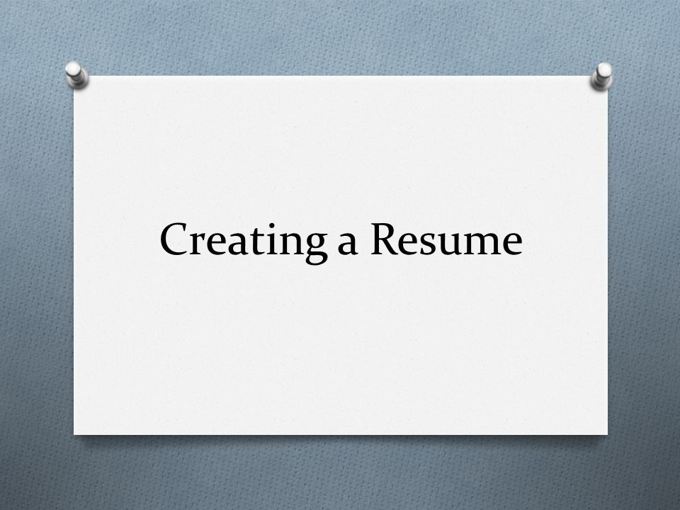Creating a Resume - ppt video online download