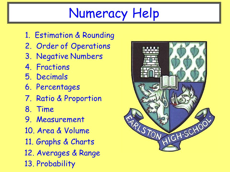 Numeracy Help 1 Estimation  Rounding 2 Order of Operations - ppt