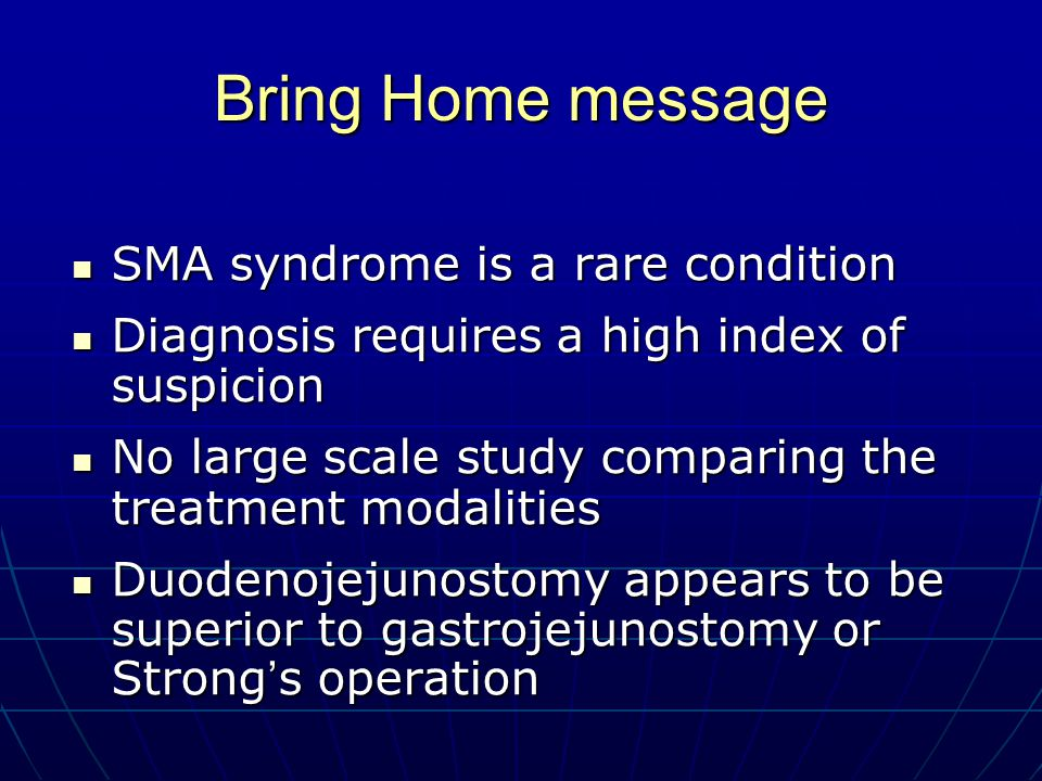 The Management of SMA Syndrome - ppt download - sma syndrome