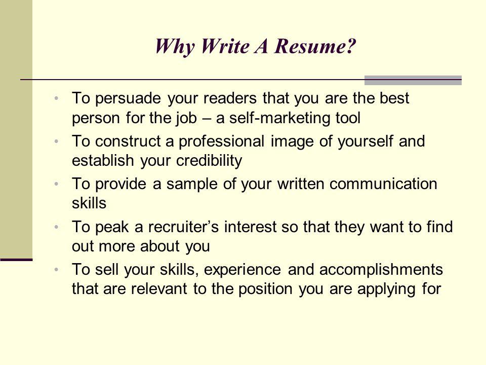 Writing Winning Resumes \u2013 Marketing Your Professional Self - ppt
