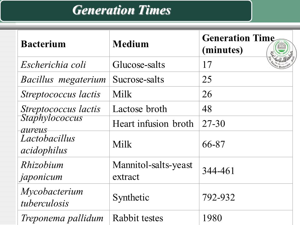 Bacterial Generation Time - ppt video online download