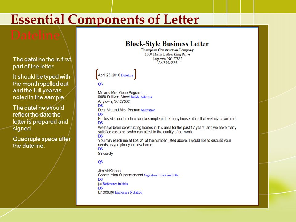 Components of Business Letters - ppt download