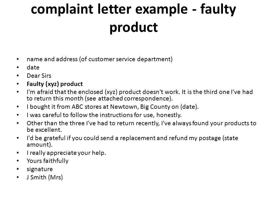 Letter of Complaint - ppt video online download - complaint letter examples