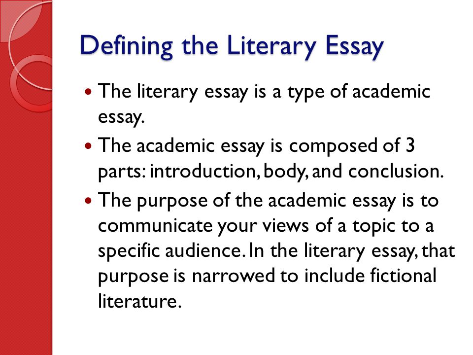 Writing the Literary Essay - ppt video online download