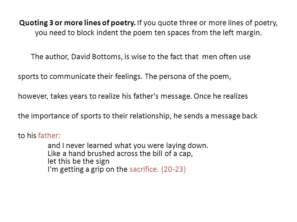 Quoting Poetry within a Paper using MLA Documentation - ppt video