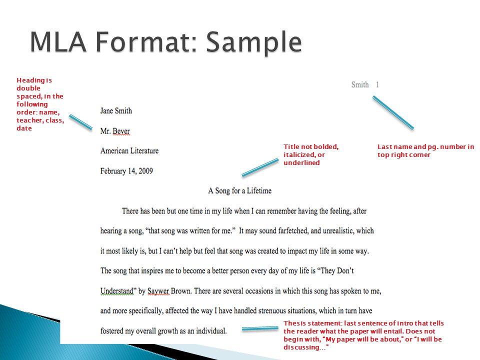 heading format mla