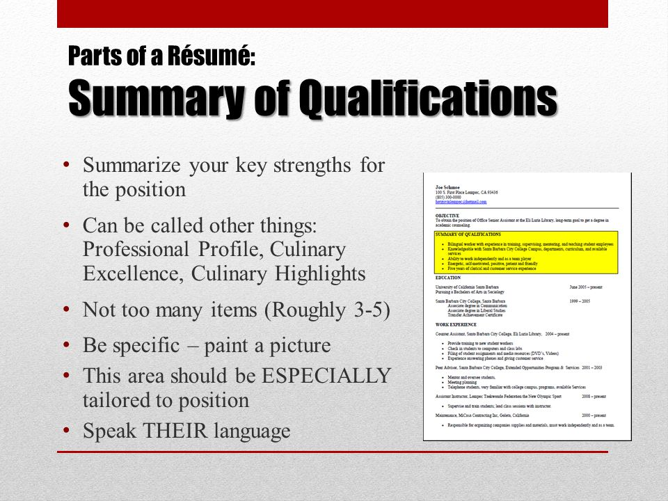 A Résumé Workshop for Culinary Arts Students - ppt download - summarize your special skills or qualifications