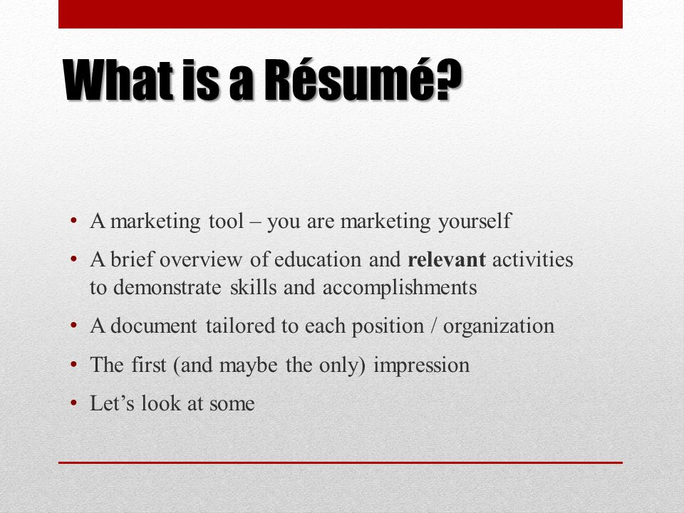 A Résumé Workshop for Culinary Arts Students - ppt download