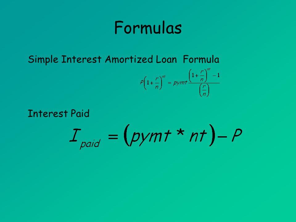 simple interest amortized loan formula