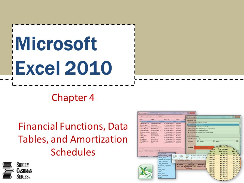 Chapter 4 Financial Functions, Data Tables, and Amortization - amortization function excel