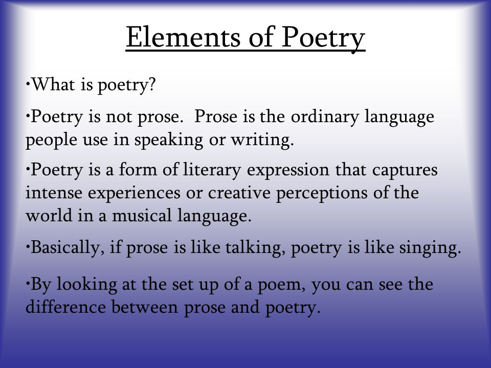 Elements of Poetry - ppt video online download
