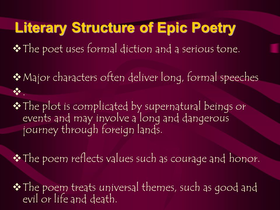 The Epic Poem - ppt video online download