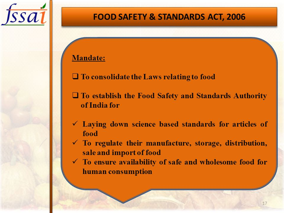 FOOD SAFETY  STANDARDS AUTHORITY OF INDIA - ppt video online download