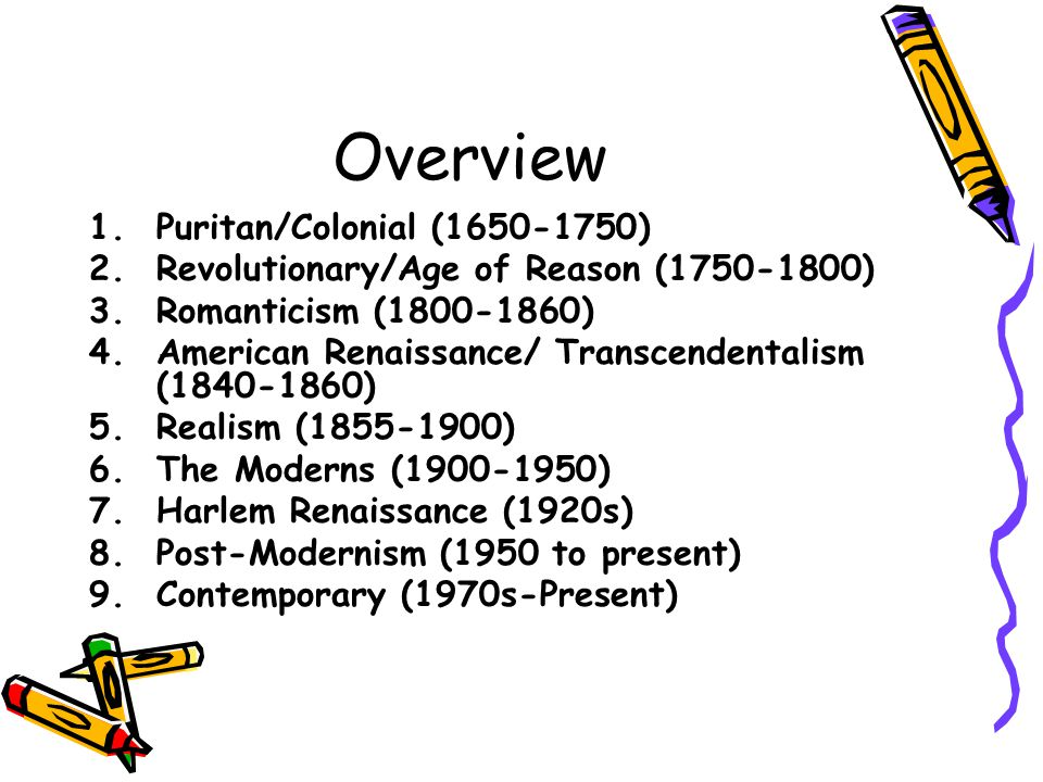 Annotated Timeline of The American Literary Movement - ppt video