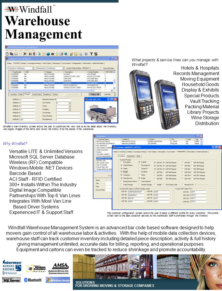 Warehouse Management Windfall Hotels  Hospitals Records Management