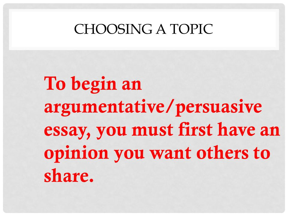 Writing the Argumentative/Persuasive Essay - ppt video online download