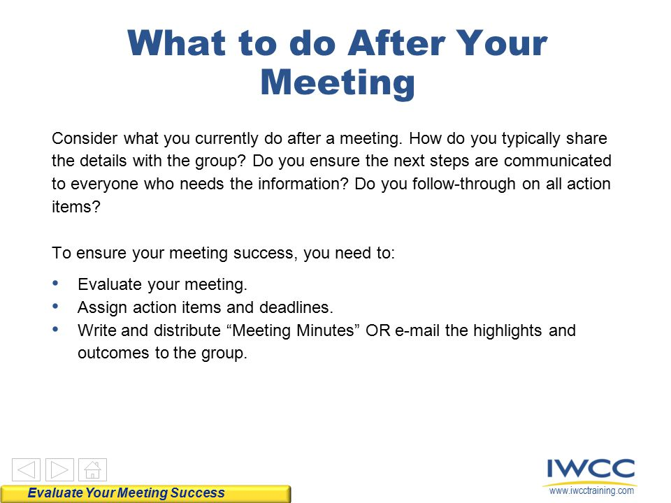 for EVALUATING Meeting Success - ppt download