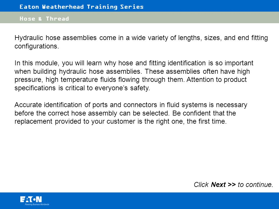 Eaton Weatherhead Training Series - ppt video online download