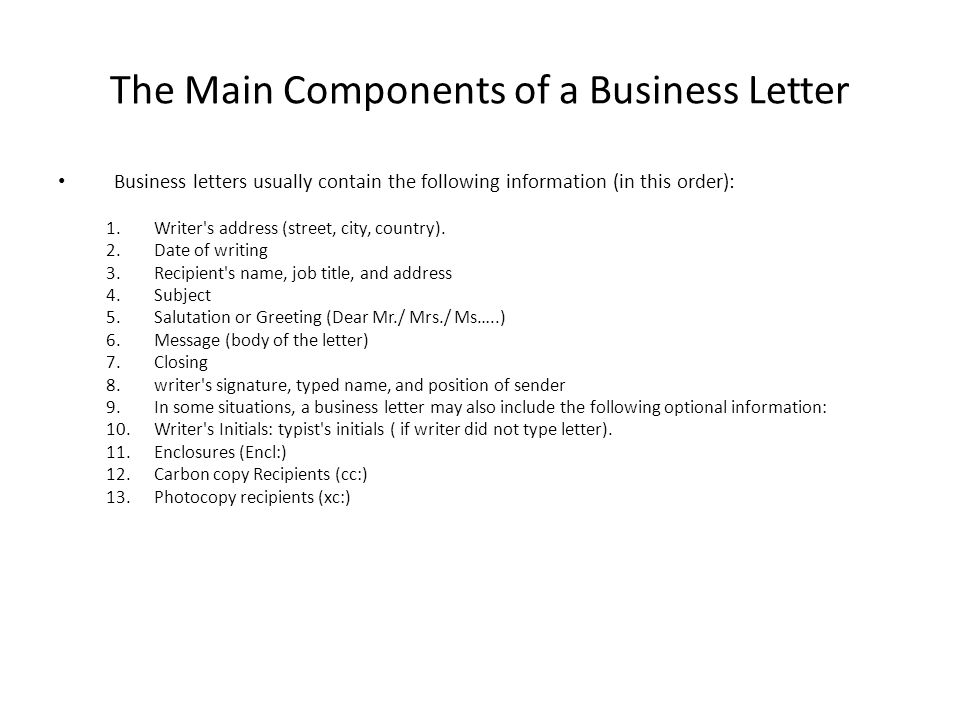 LECTURE 17 Business Letters - ppt video online download
