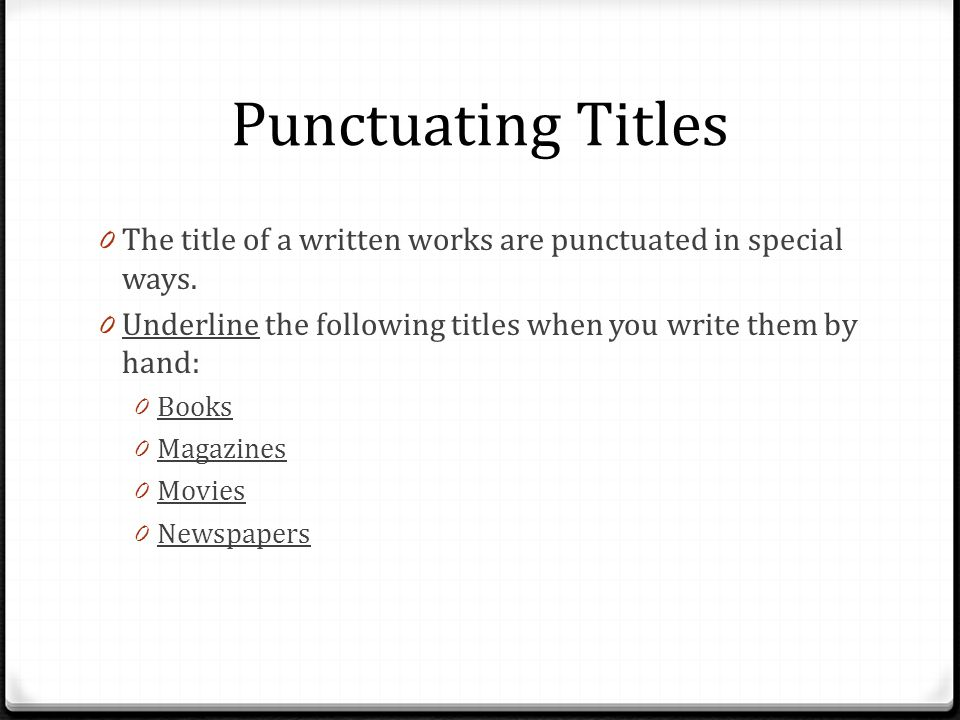 Punctuating Titles Title, Title or \u201cTitle\u201d - ppt video online download