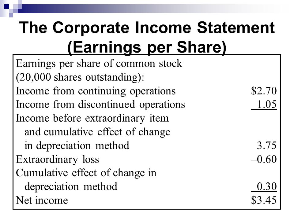 Retained Earnings, Treasury Stock, and the Income Statement - ppt - income statment