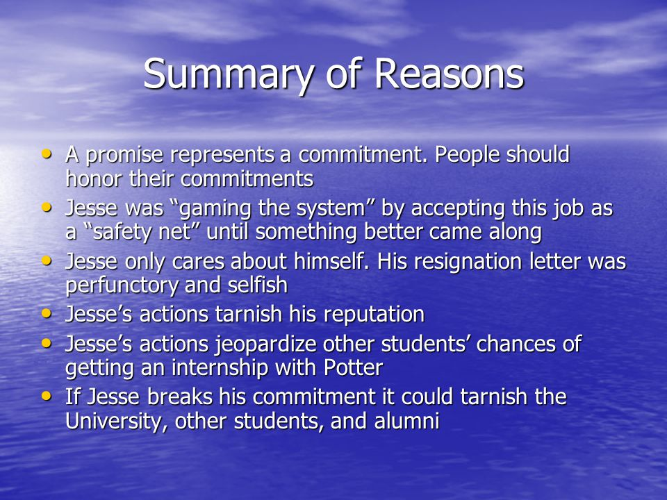 The Importance of Commitments A Case Study of a Broken Promise