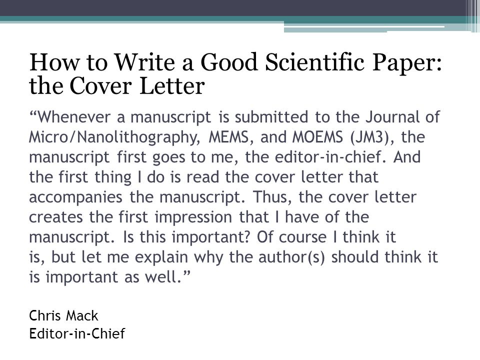 Writing Cover Letters for Scientific Manuscripts - ppt video online