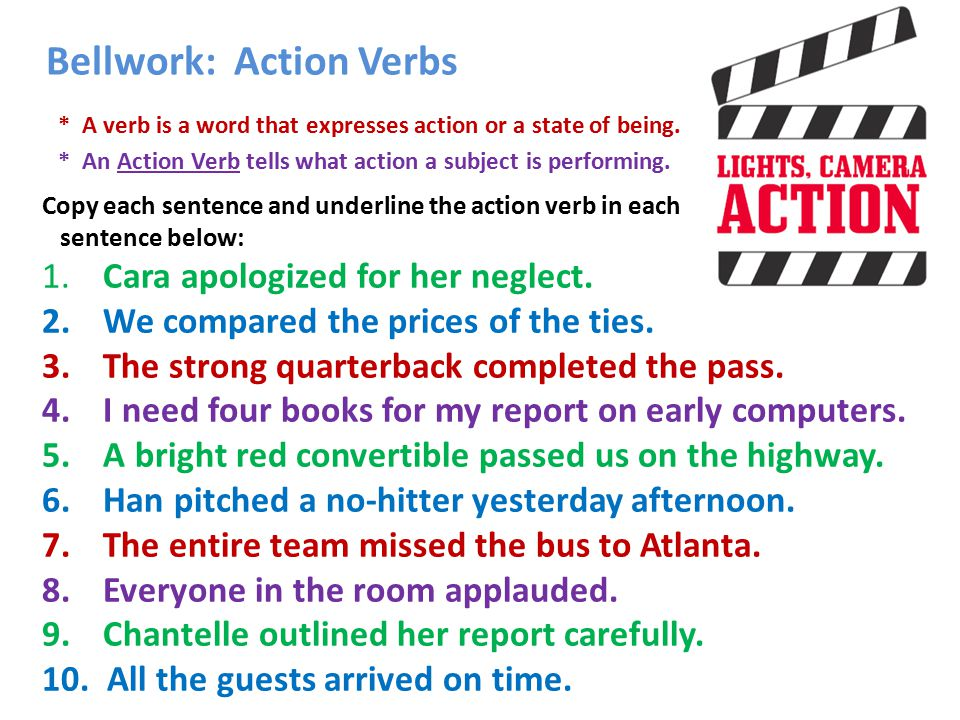 Bellwork Action Verbs - ppt video online download