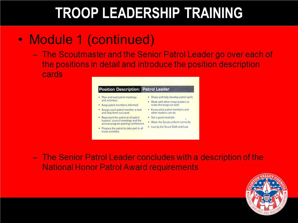 TRAINING YOUTH LEADERS - ppt video online download - troop to task example