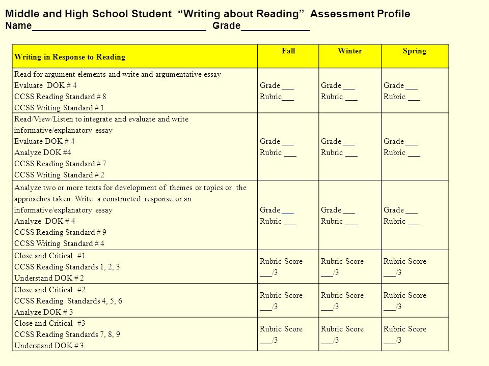 Literacy Plan/Profile for Middle and High School Students Resources