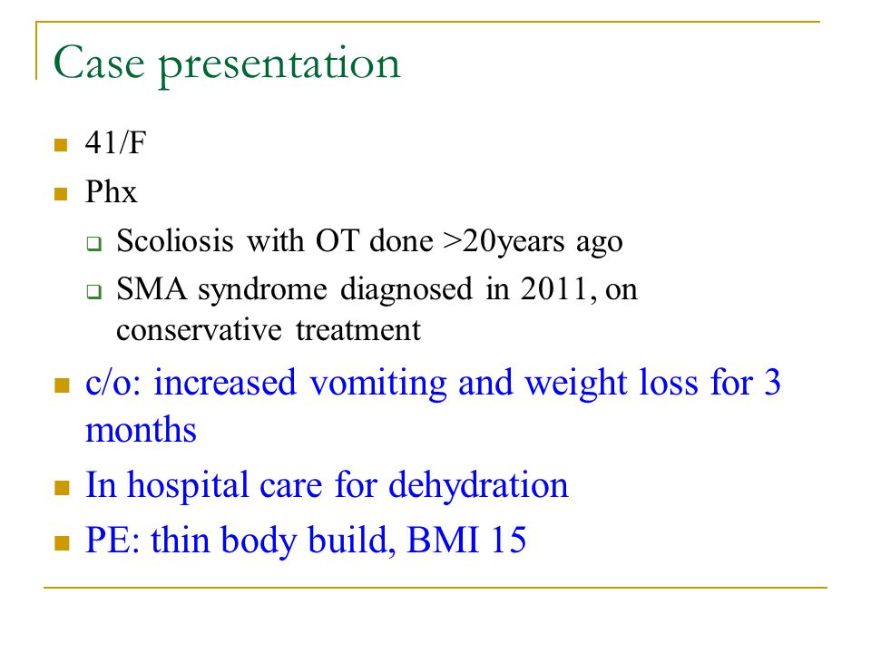 Superior Mesenteric Artery Syndrome Diagnosed With Linear Endoscopic - sma syndrome