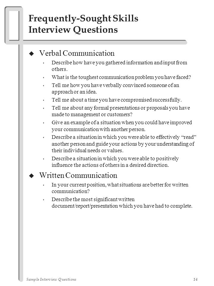 Sample Interview Questions - ppt download