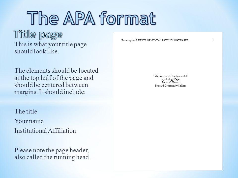 title pages for research papers apa Create a title page that includes the title of the paper, the author's name and the name of the school or institution, respectively the title should appear in the upper half of the paper and text should be centered on the page.