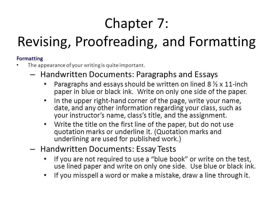 Chapter 7 Revising, Proofreading, and Formatting - ppt video online
