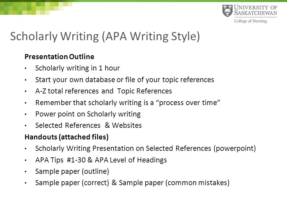 Scholarly Writing (APA Writing Style) - ppt download