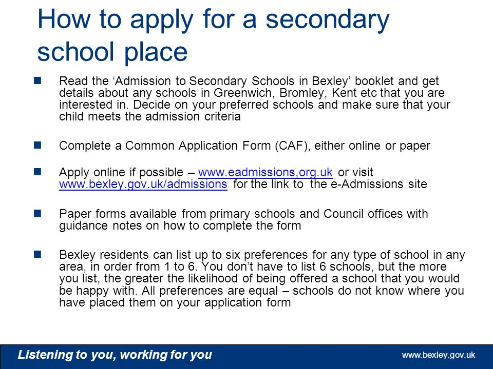 London Borough of Bexley School Admissions Team - ppt video online - admission forms for schools