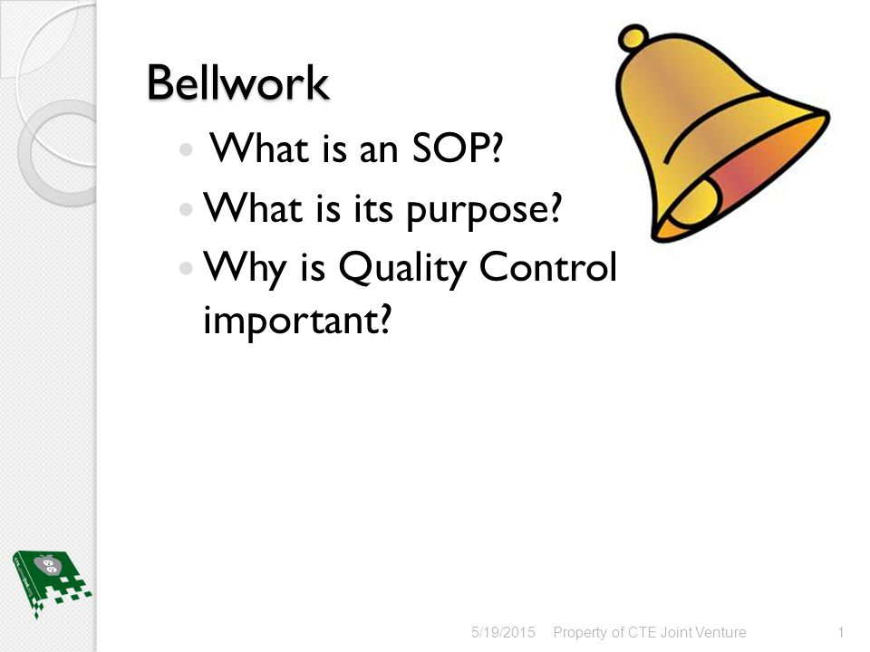 Bellwork What is an SOP? What is its purpose? - ppt download
