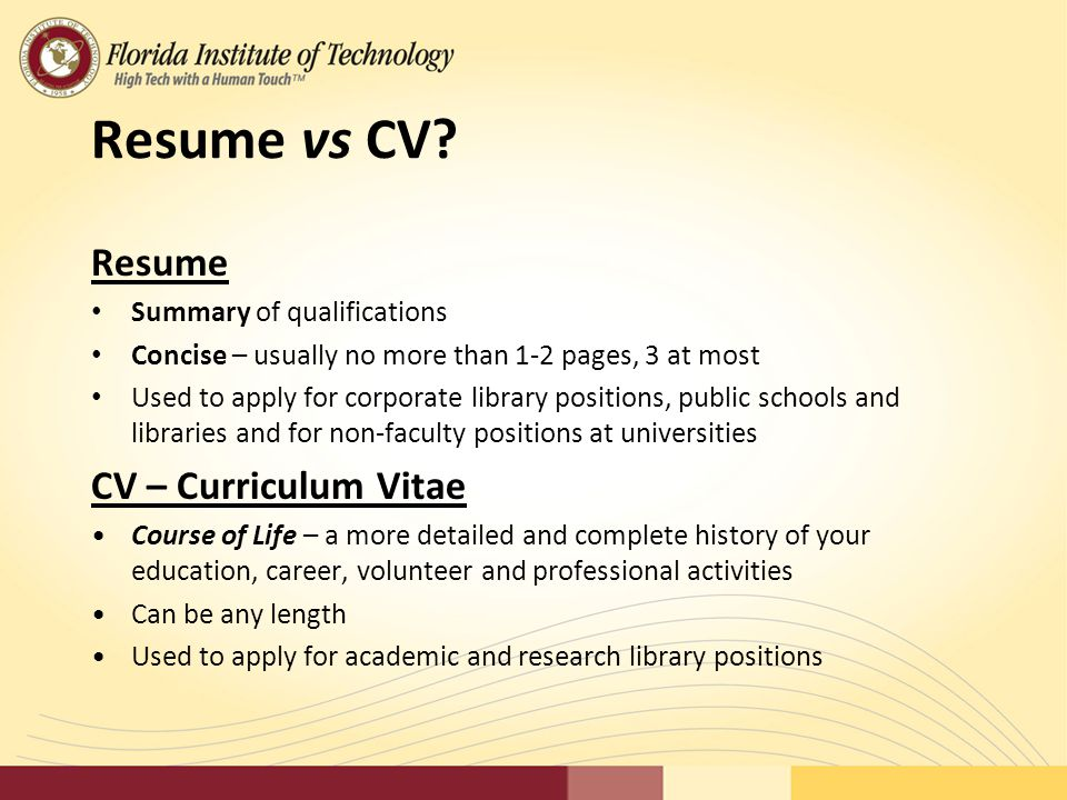 Creating an Effective Resume Library Association of Brevard - ppt