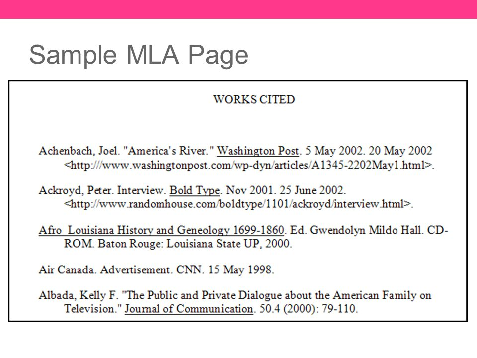 MLA FORMAT Resources, Sample Page, and Citation Examples - ppt download - mla format
